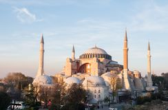 Exterior of the Hagia Sophia in Sultanahmet, Istanbul, on a evening Royalty Free Stock Images