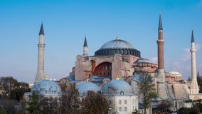 Exterior of the Hagia Sophia in Sultanahmet, Istanbul, on sunny day timelapse stock video