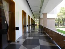 An exterior hallway and many doors at the independence palace Saigon Stock Images