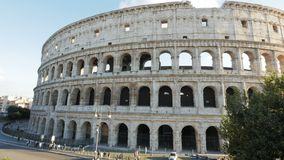 Exterior high angle view of the colosseum in italy. An exterior high angle view of the colosseum in rome, italy stock video footage