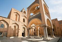 Exterior of the historical armenian cathedral with visitors walking around. Royalty Free Stock Images