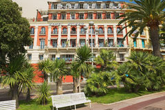 Exterior of the historical building of the Hotel Suisse in Nice, France. Royalty Free Stock Photos