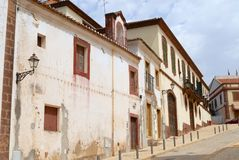 Exterior of the historical buildings in Silves, Portugal. Royalty Free Stock Photos