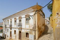 Exterior of the historical buildings  in Silves, Portugal. Royalty Free Stock Images