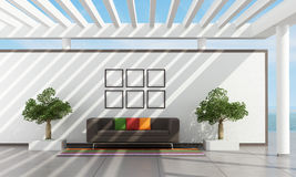 Exterior of a holyday villa. With brown sofa and pergola - rendering Royalty Free Stock Images