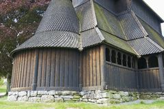 Exterior of the Hopperstad stave church in Vik, Norway. Stock Photography