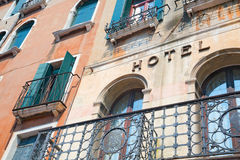Exterior of hotel in Venice, Italy Stock Photos
