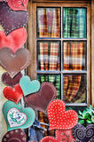 Exterior house decoration hearts Stock Photos