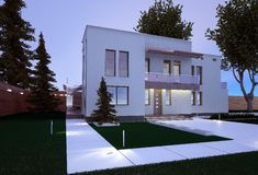 Exterior of a house in a modern style. Exterior of the house in a modern style. backyard Royalty Free Stock Photos