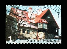 Exterior of Hvittrask, serie, circa 2005. MOSCOW, RUSSIA - AUGUST 18, 2018: A stamp printed in Finland shows MOSCOW, RUSSIA - AUGUST 18, 2018: A stamp printed in stock image