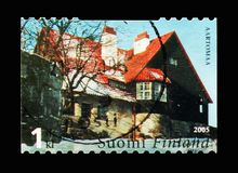 Exterior of Hvittrask, serie, circa 2005. MOSCOW, RUSSIA - AUGUST 18, 2018: A stamp printed in Finland shows Exterior of Hvittrask, serie, circa 2005 royalty free stock photography