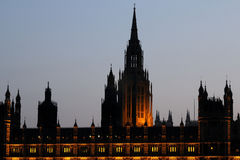 Exterior of illuminated Houses of Parliament Royalty Free Stock Images