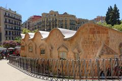 Barcelona, Spain: the sagrada familia school. Exterior image taken from the outside of the sagrada familia basilica showing Gaudi school, barcelona, spain stock photography