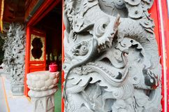 Exterior Imperial oriental dragon decoration at the Po Lin monastery Temple, Lantau Island, Hong Kong, China stock photos