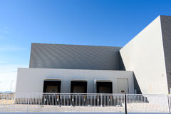 Exterior industrial warehouse. In Spain in the day stock photo