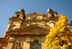 Exterior of the Jesuit Church in Mannheim, Germany. Exterior of Domes of the Jesuit Church in Mannheim, Germany royalty free stock photos