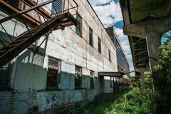 Exterior of a large abandoned factory. In the city Efremov. Russia Stock Photography