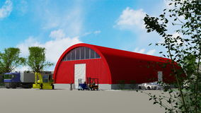 Red hangar building Stock Photo
