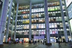 Exterior Large shopping mall at night, Shanghai, China Royalty Free Stock Images