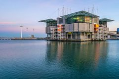 Exterior of the Lisbon Oceanarium. Sunset at the Lisbon Oceanarium located in the Park of the Nations, capital of Portugal royalty free stock photo