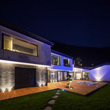 Exterior of luxurious modern villa in the night Stock Image