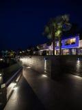 Exterior of luxurious modern villa, night scene. Exterior of luxurious modern villa, nobody stock photos