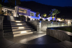 Exterior of luxurious modern villa, nobody Royalty Free Stock Image
