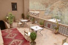 Exterior of a luxury hotel. OUARZAZATE, MOROCCO - FEB 16, 2019 - Exterior of a luxury hotel, Chez Pierre, Ouarzazate,  Morocco, Africa royalty free stock photos