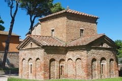 Exterior of the Mausoleum of Galla Placidia in Ravenna, Italy. Royalty Free Stock Photo