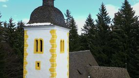 Exterior of medieval church in a forest stock footage