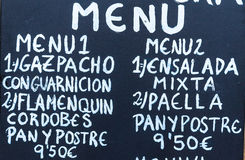 Exterior menu cartel in Barcelona - Spain Stock Photos
