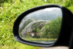 Exterior Mirror With Nature Scenery Stock Images