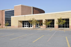 Exterior of a modern high school stock images