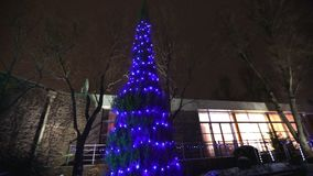 Exterior of modern house or restaurant, the Christmas lights are lit on the trees, in the night sky, camera movement. Tree decorated with Christmas lights stock footage