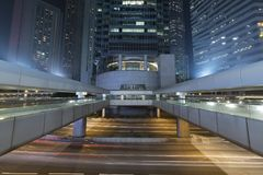 Traffic in downtown of Hong Kong city at night Royalty Free Stock Photography