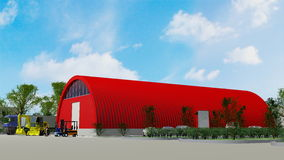 Red hanger building Royalty Free Stock Photos