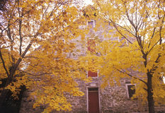 Exterior of Moravian Grist Mill in Autumn, New Jersey Stock Image