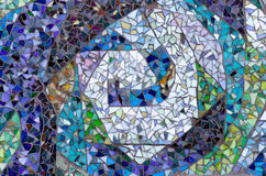 Exterior mosaic design of assorted broken tile. Royalty Free Stock Photography
