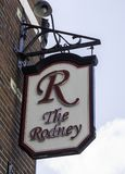 An exterior mounted pub sign for the pub The Rodney Warrington M. Ay 2018 Stock Photo