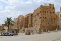 Exterior of the mud brick tower houses of Shibam town in Shibam, Yemen. Stock Images