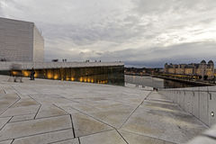 Exterior of new modern opera in Oslo Royalty Free Stock Images