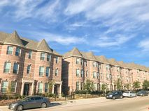 Exterior of new townhouse apartment building near Dallas under c royalty free stock photo
