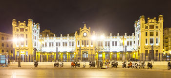 Exterior of North station in night. Valencia Stock Images