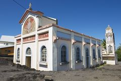 Exterior of the Notre dame des laves church in Sainte-Rose De La Reunion, France. Royalty Free Stock Images