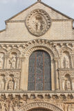 Exterior of Notre Dame la Grande church in Poitiers, detail of f Stock Photos
