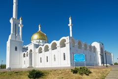 Exterior of the Nur Astana mosque in Astana, Kazakhstan. Royalty Free Stock Photos