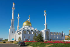 Exterior of the Nur Astana mosque in Astana, Kazakhstan. Royalty Free Stock Photography