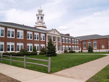 Exterior of an old brick high school in New Jersey Stock Images