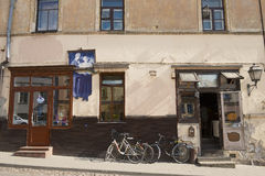 Exterior of an old building with a restaurant in Uzupio area in Vilnius, Lithuania. Stock Photo