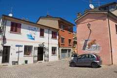 Exterior of the old buildings in the residential area of in Rimini, Italy. Stock Photos